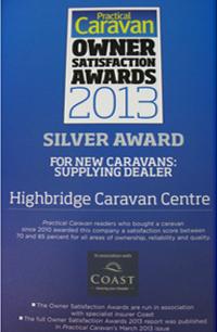 Practical Caravan New Caravans: Supplying Dealer Silver Award